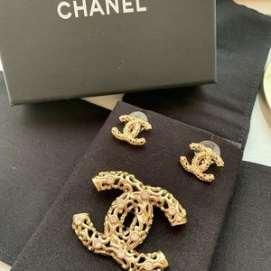 Authentic Chanel Brooch and Earring set